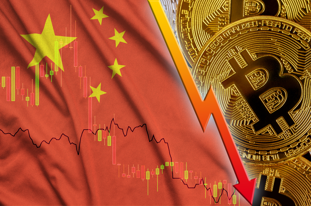 China flag and cryptocurrency falling
